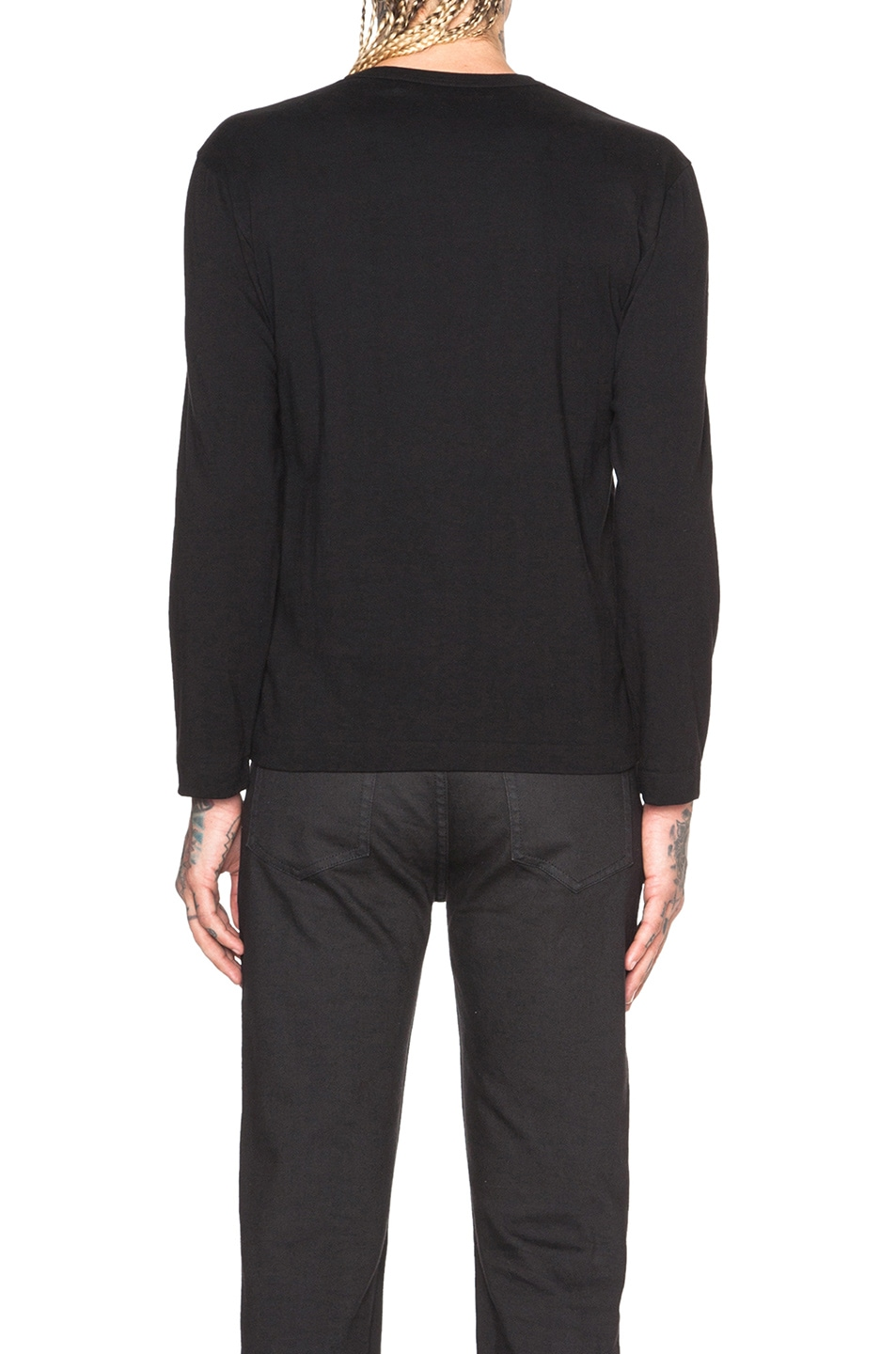 Image 4 of Comme Des Garcons PLAY Black Emblem Cotton Long Sleeve Tee in Black