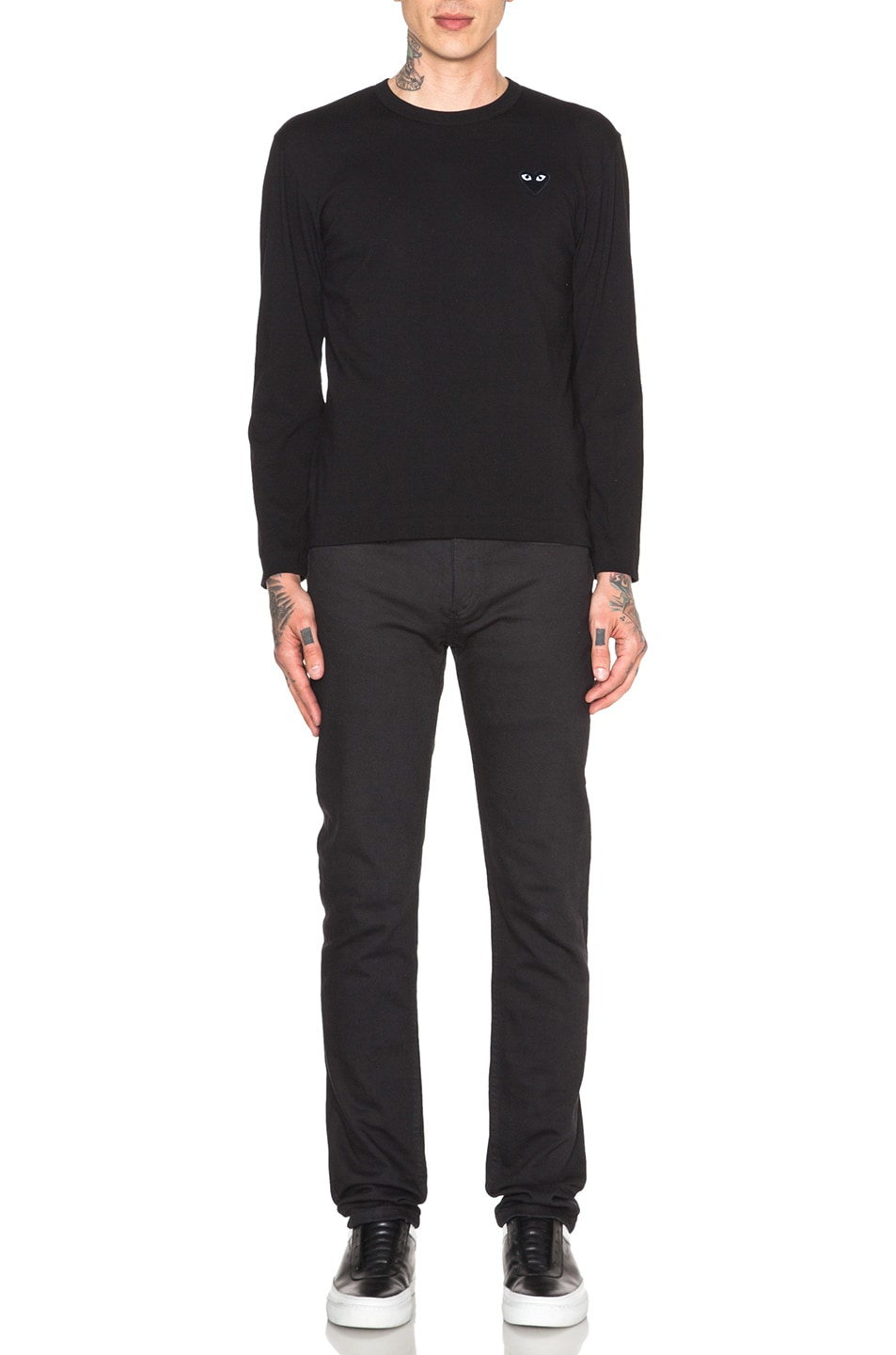 Image 5 of Comme Des Garcons PLAY Black Emblem Cotton Long Sleeve Tee in Black