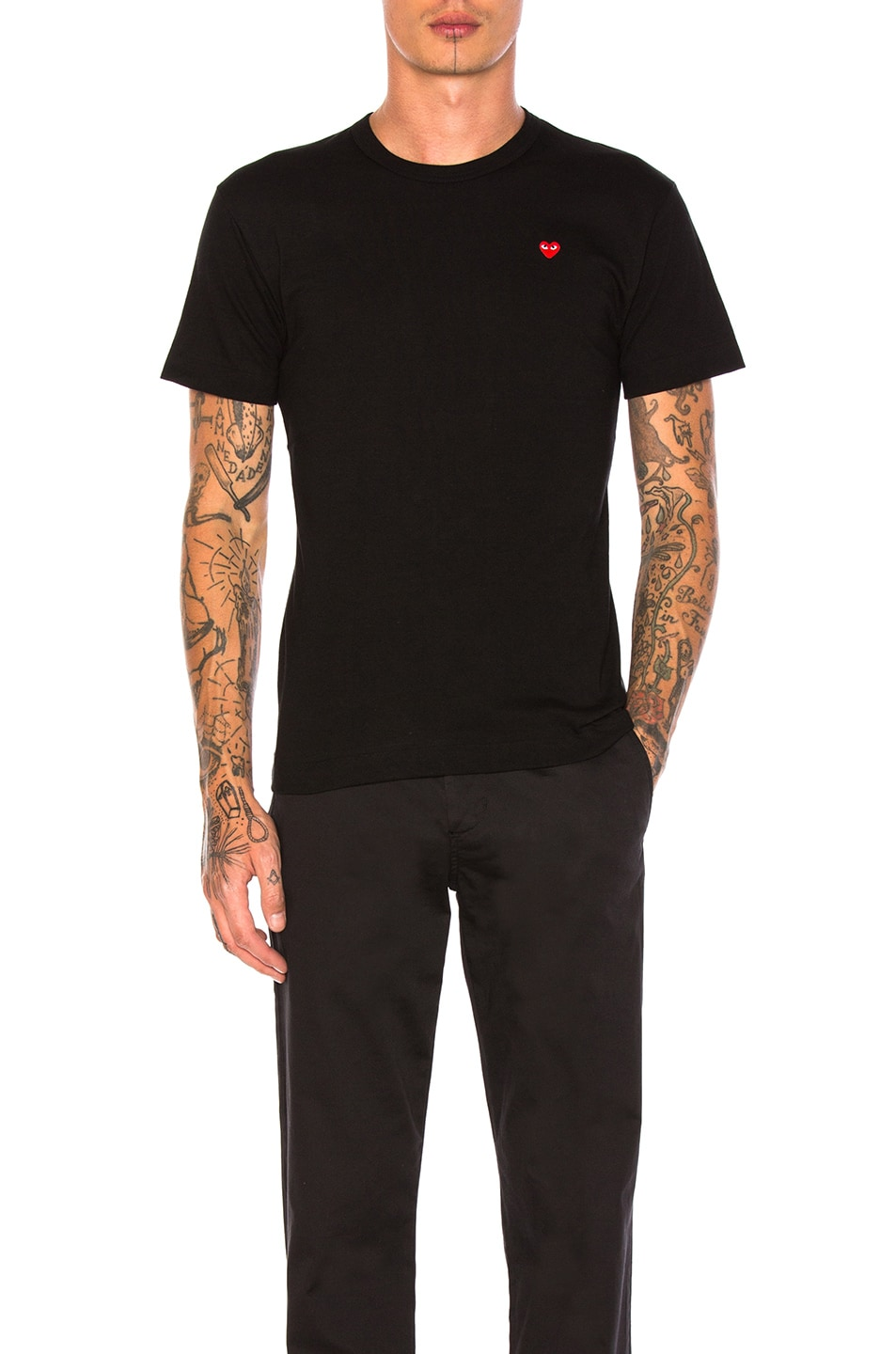 Image 1 of Comme Des Garcons PLAY Small Red Emblem Cotton Tee in Black