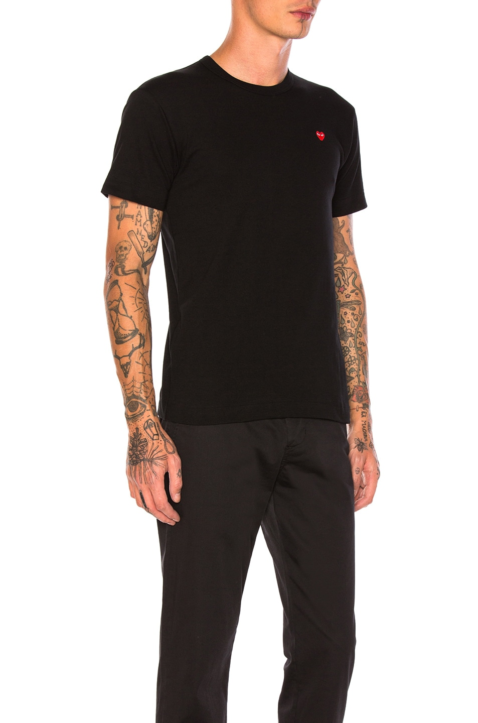 Image 2 of Comme Des Garcons PLAY Small Red Emblem Cotton Tee in Black