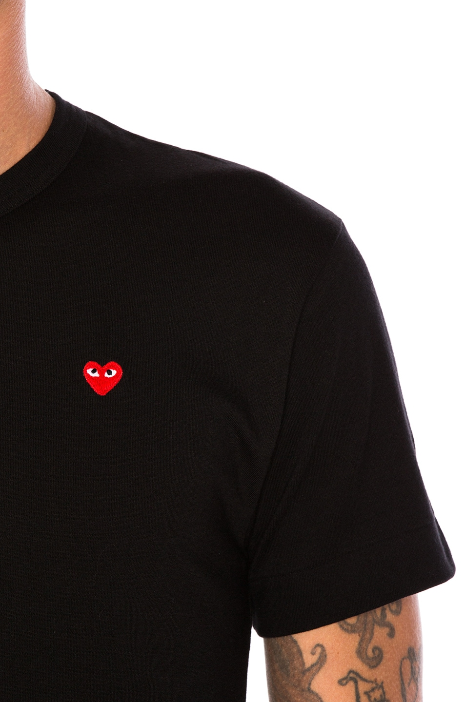 Image 5 of Comme Des Garcons PLAY Small Red Emblem Cotton Tee in Black