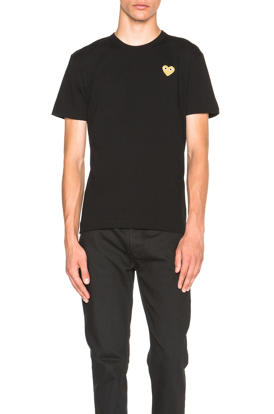 Image 1 of Comme Des Garcons PLAY Gold Emblem Tee in Black