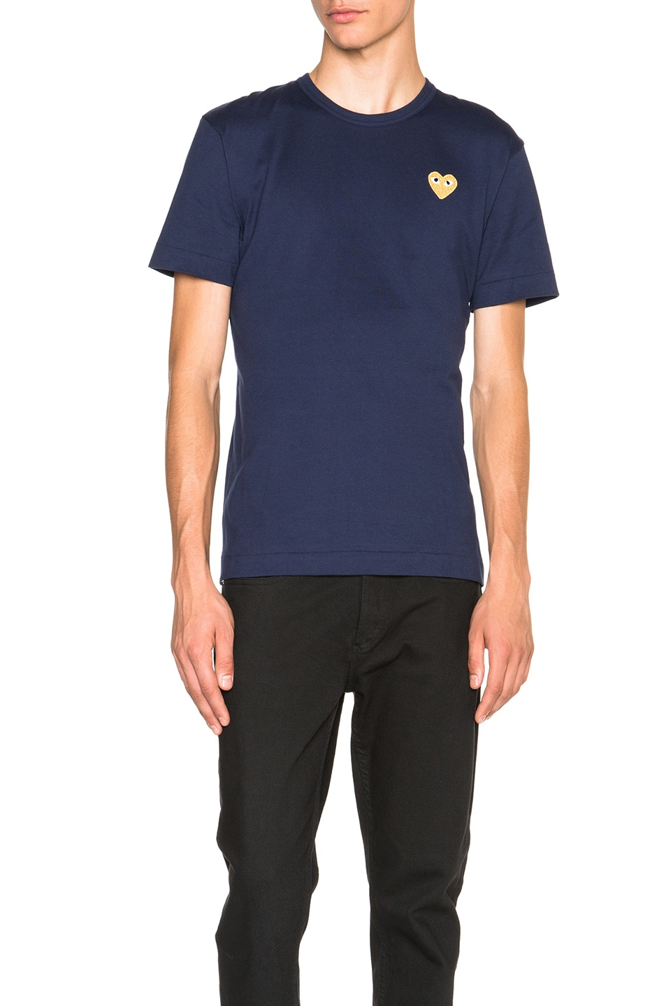 Image 1 of Comme Des Garcons PLAY Gold Emblem Tee in Navy