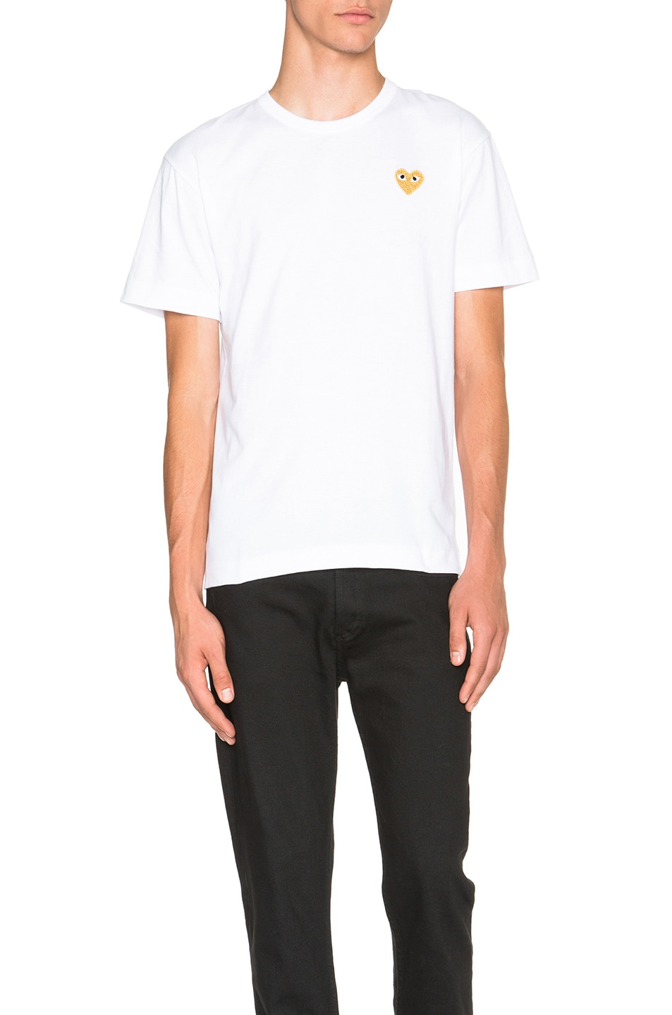 Image 1 of Comme Des Garcons PLAY Gold Emblem Tee in White