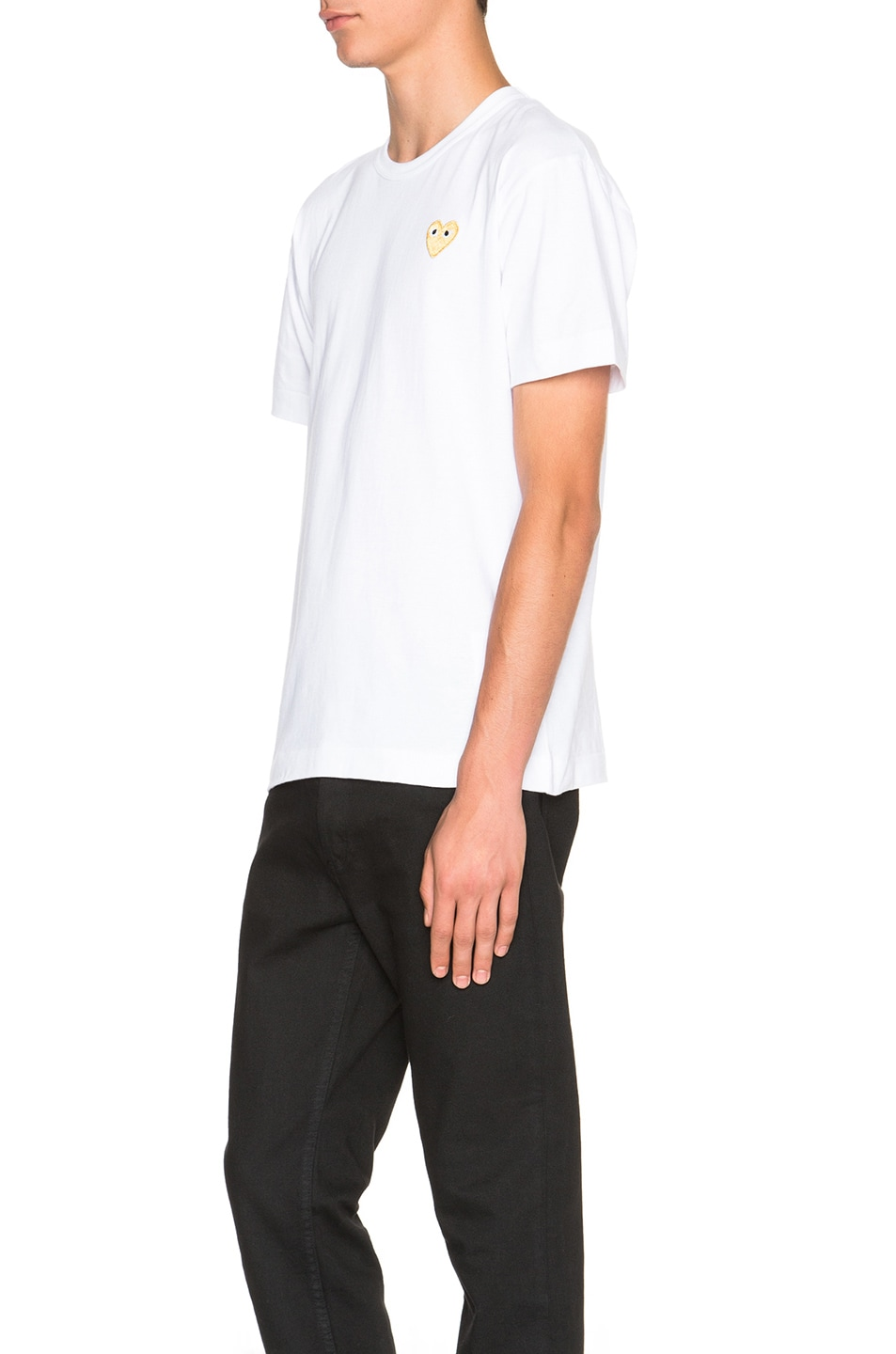 Image 2 of Comme Des Garcons PLAY Gold Emblem Tee in White
