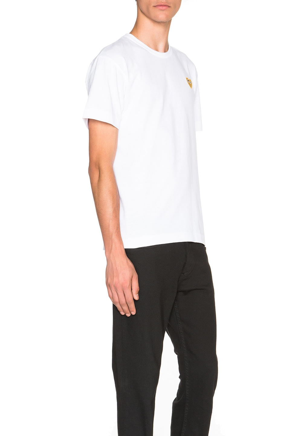 Image 3 of Comme Des Garcons PLAY Gold Emblem Tee in White