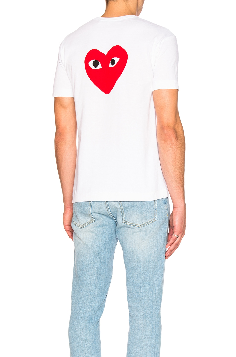 Image 1 of Comme Des Garcons PLAY Reverse Heart Tee in White