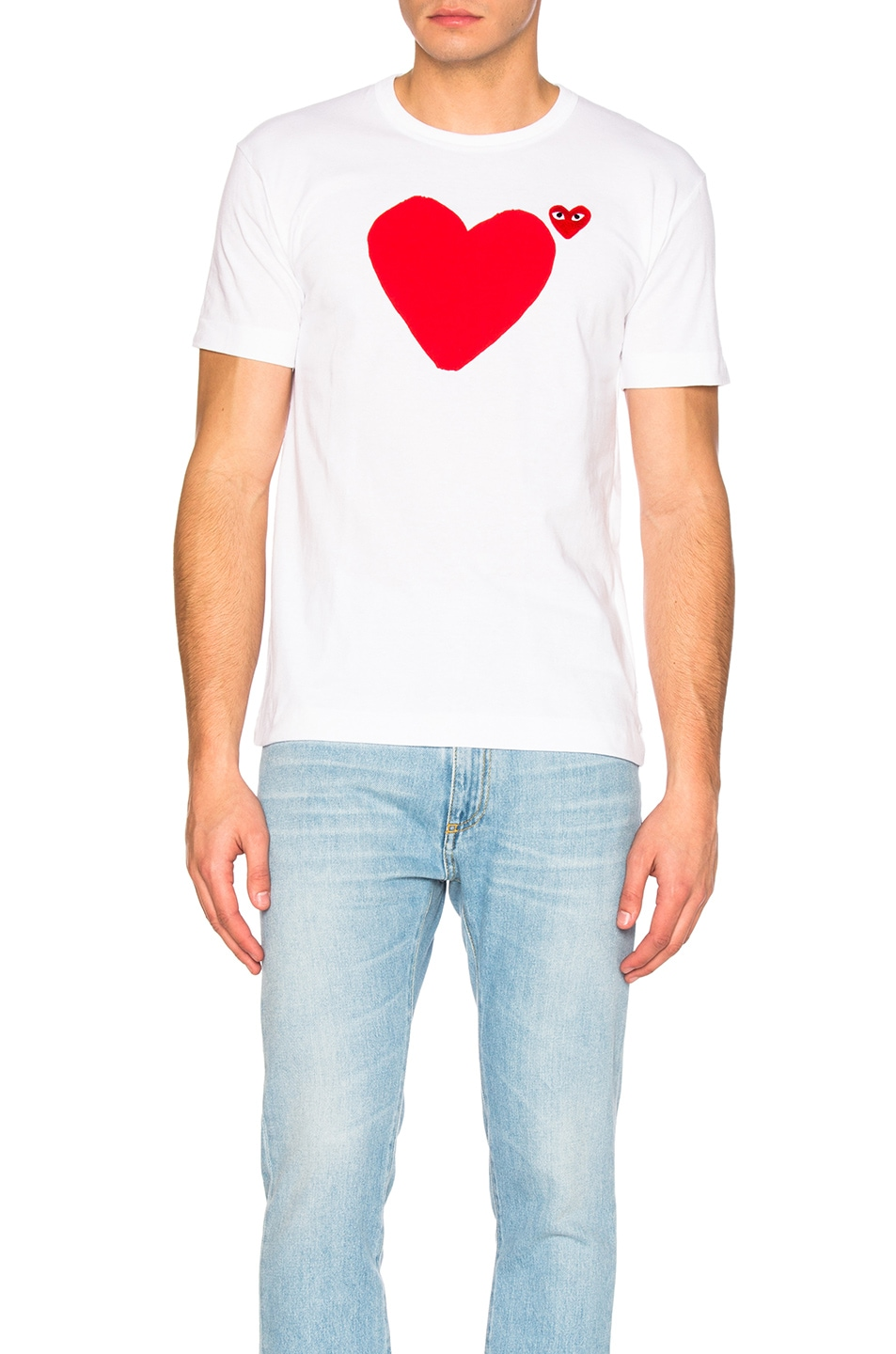 Image 2 of Comme Des Garcons PLAY Reverse Heart Tee in White