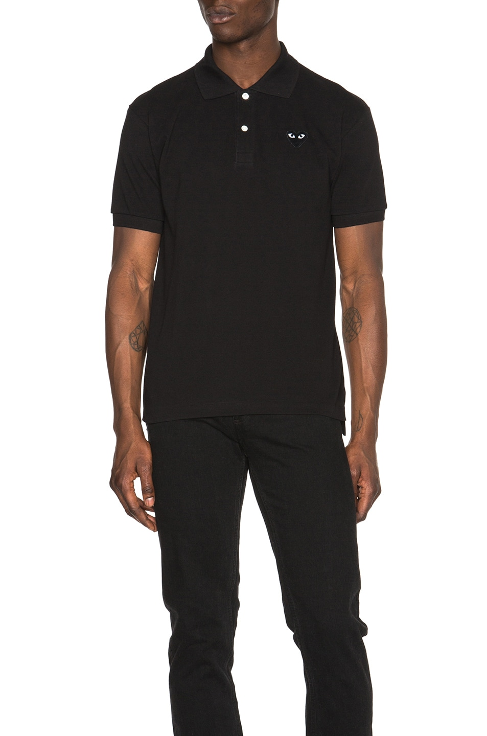 Image 1 of Comme Des Garcons PLAY Cotton Polo with Black Emblem in Black