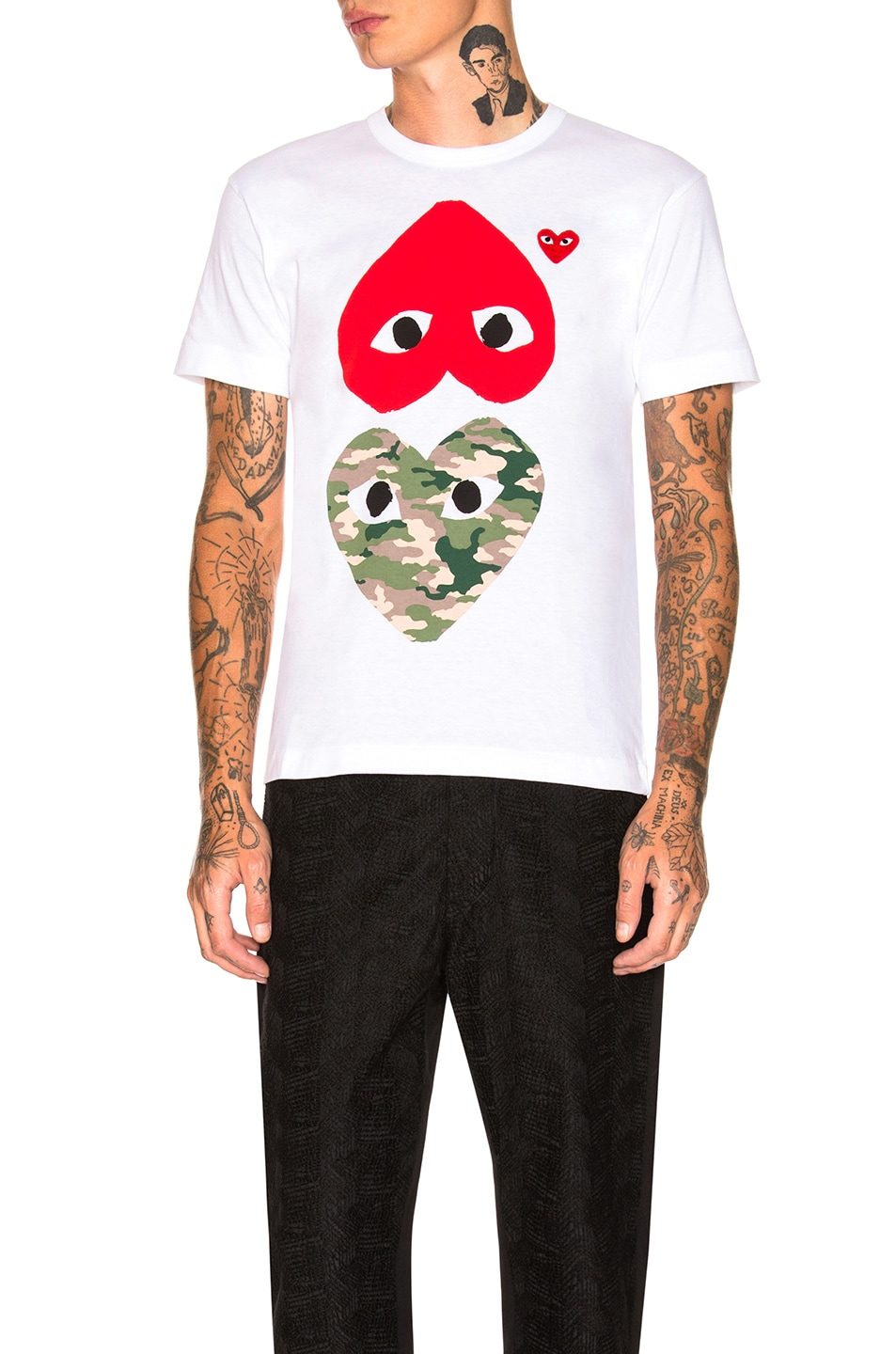 Image 1 of Comme Des Garcons PLAY Camouflage Double Emblem Tee in White