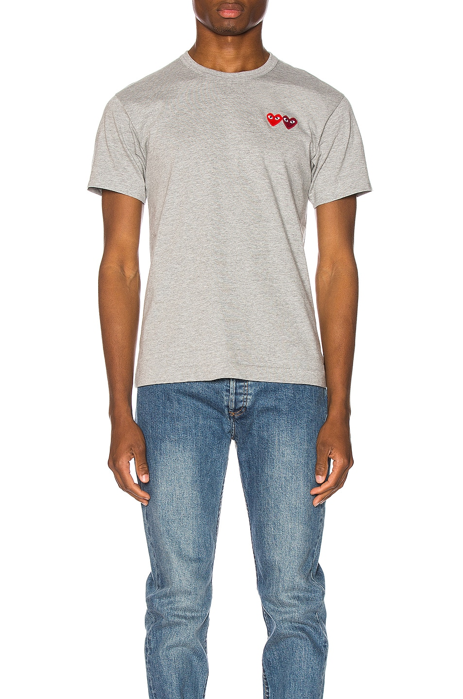 Image 1 of Comme Des Garcons PLAY Double Heart Tee in Grey