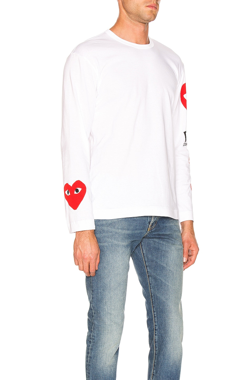 Image 2 of Comme Des Garcons PLAY Logo Tee in White