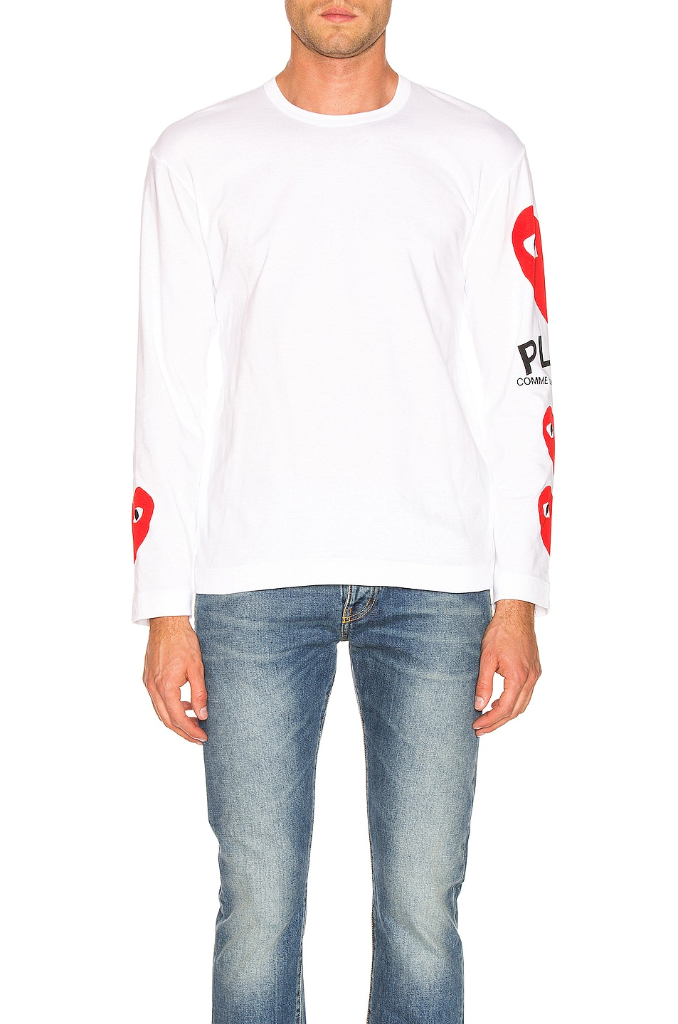 Image 3 of Comme Des Garcons PLAY Logo Tee in White