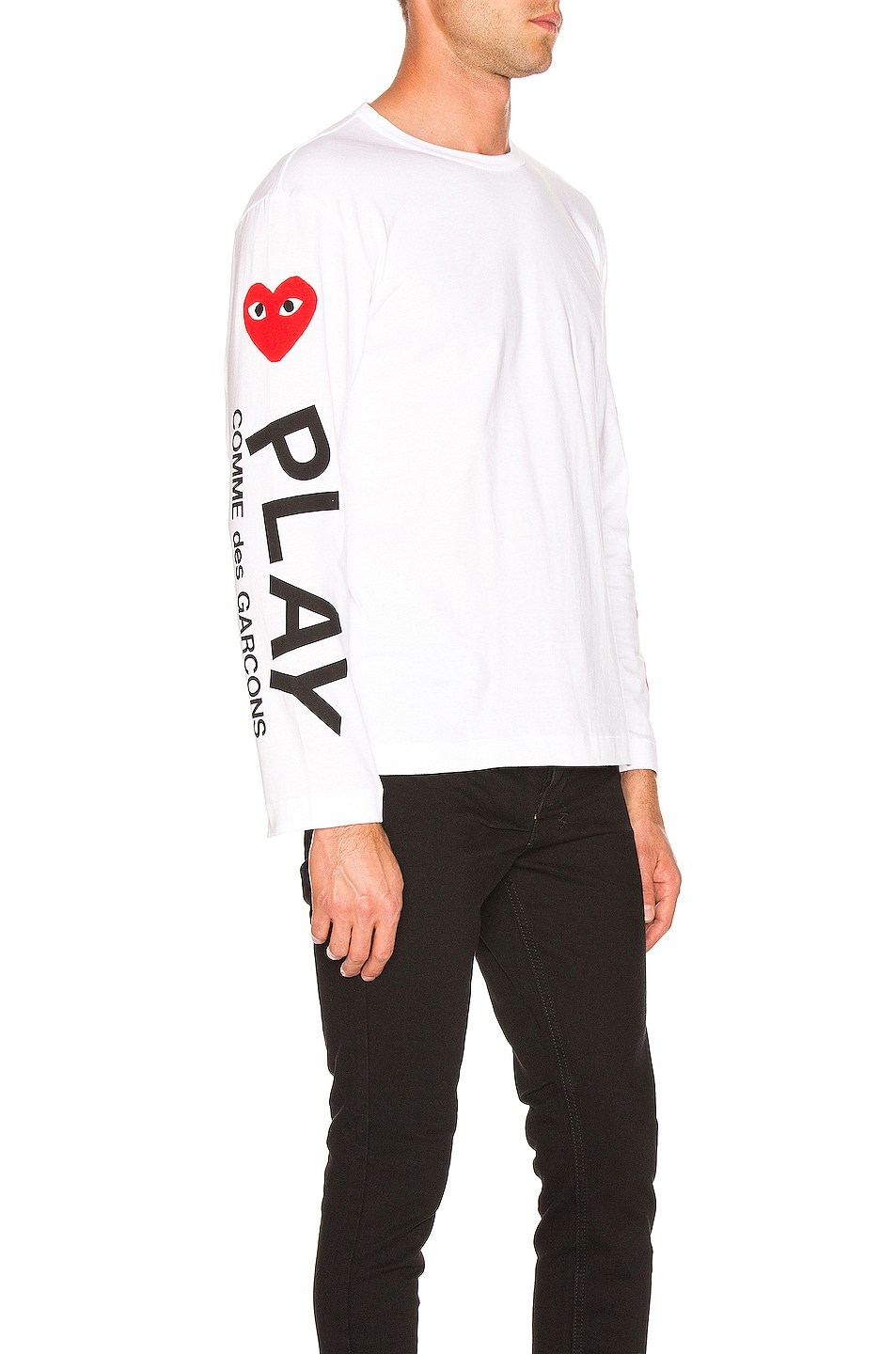 Image 1 of Comme Des Garcons PLAY Logo Tee in White