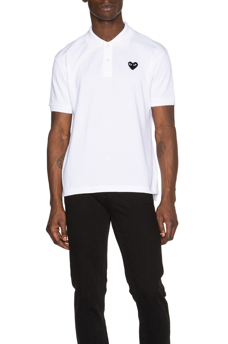 Image 1 of Comme Des Garcons PLAY Cotton Polo with Black Emblem in White