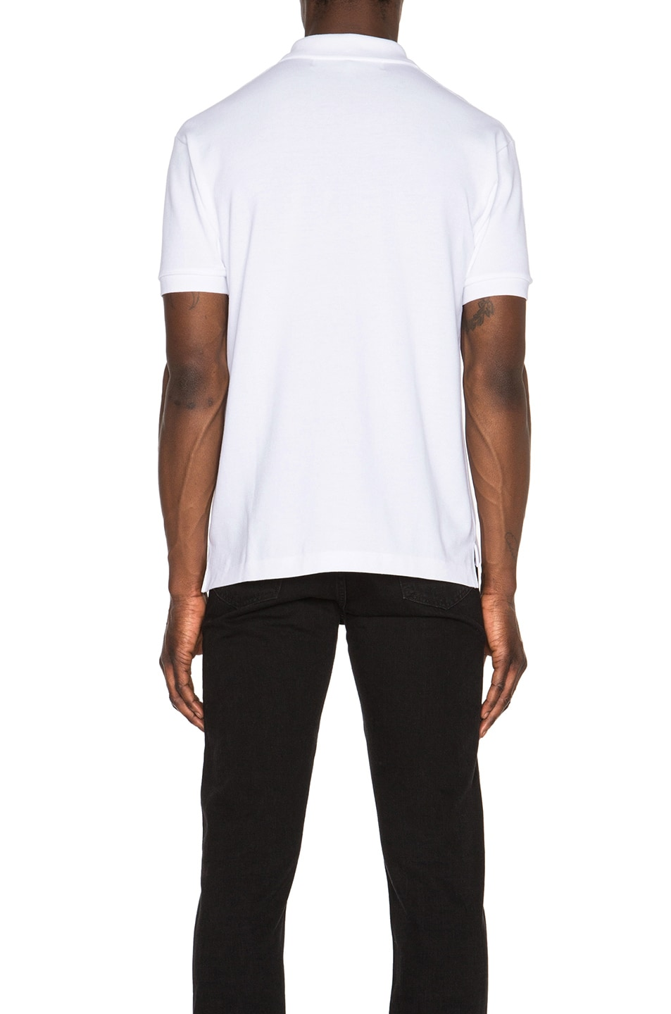 Image 4 of Comme Des Garcons PLAY Cotton Polo with Black Emblem in White