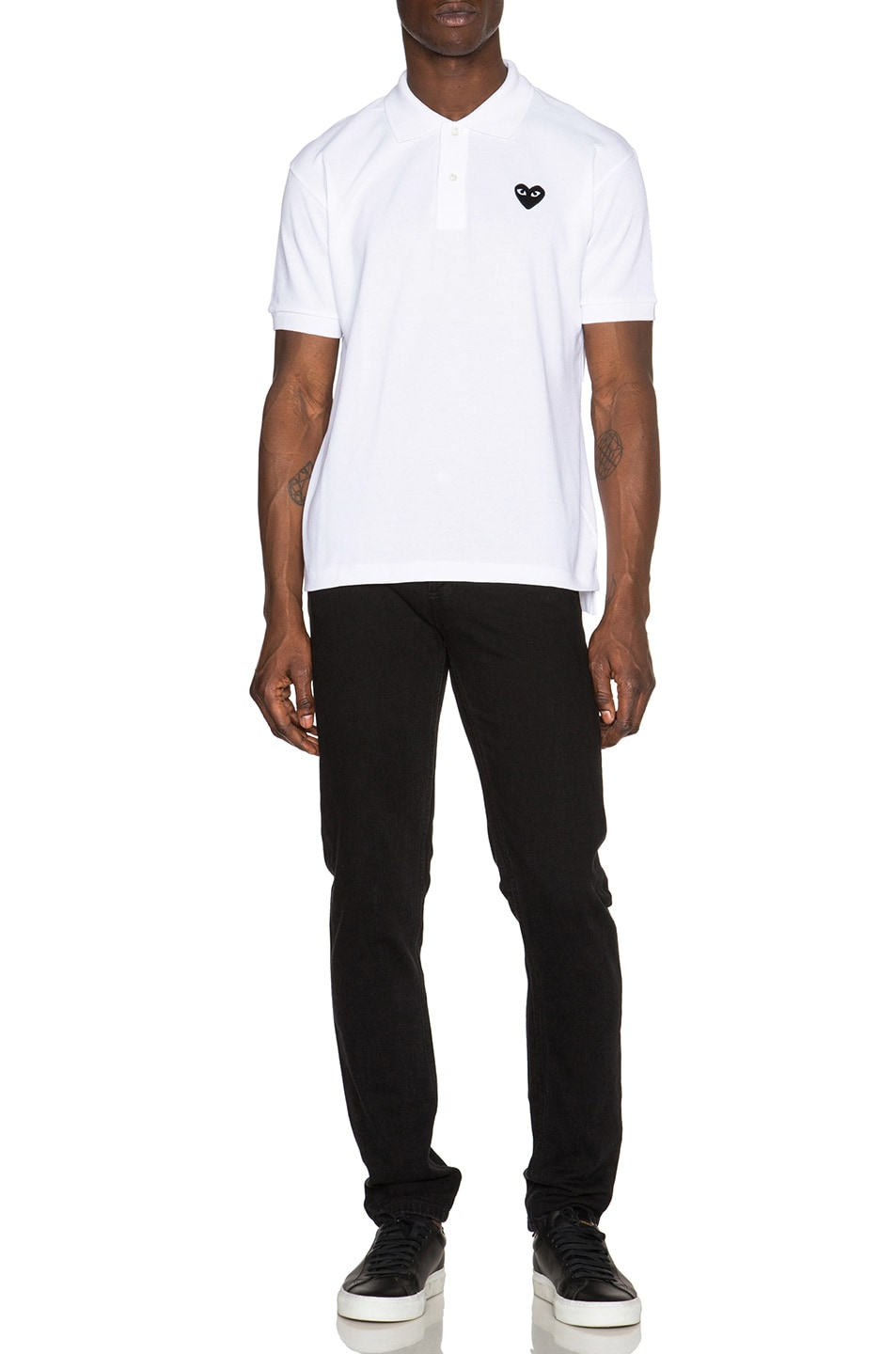Image 5 of Comme Des Garcons PLAY Cotton Polo with Black Emblem in White