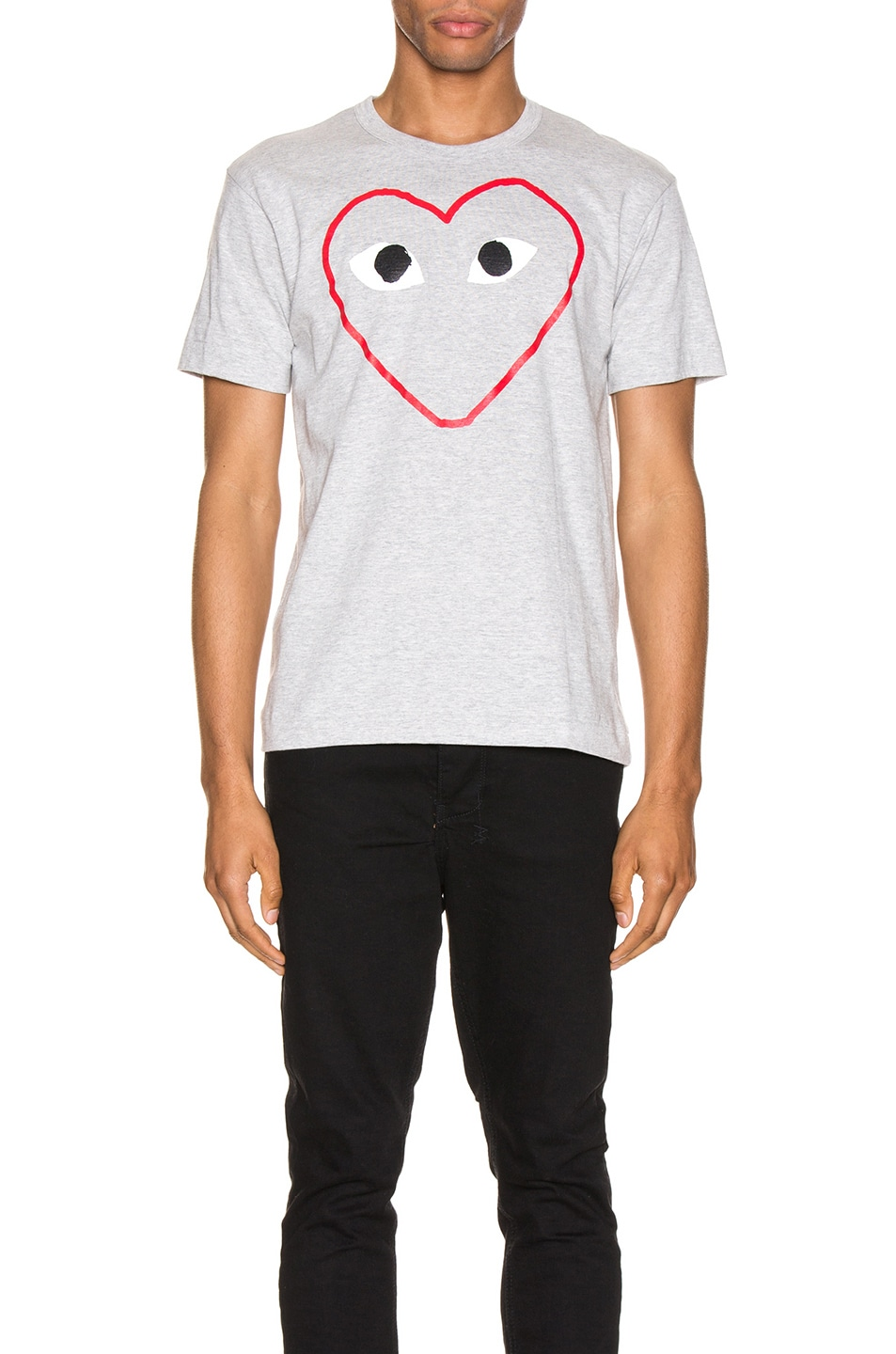 Image 1 of Comme Des Garcons PLAY Heart Logo Tee in Grey