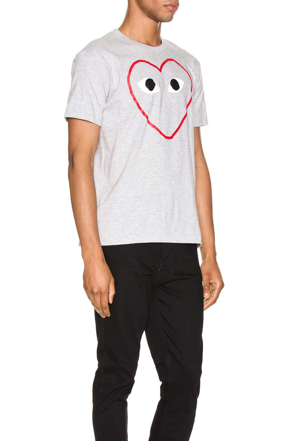 Image 2 of Comme Des Garcons PLAY Heart Logo Tee in Grey