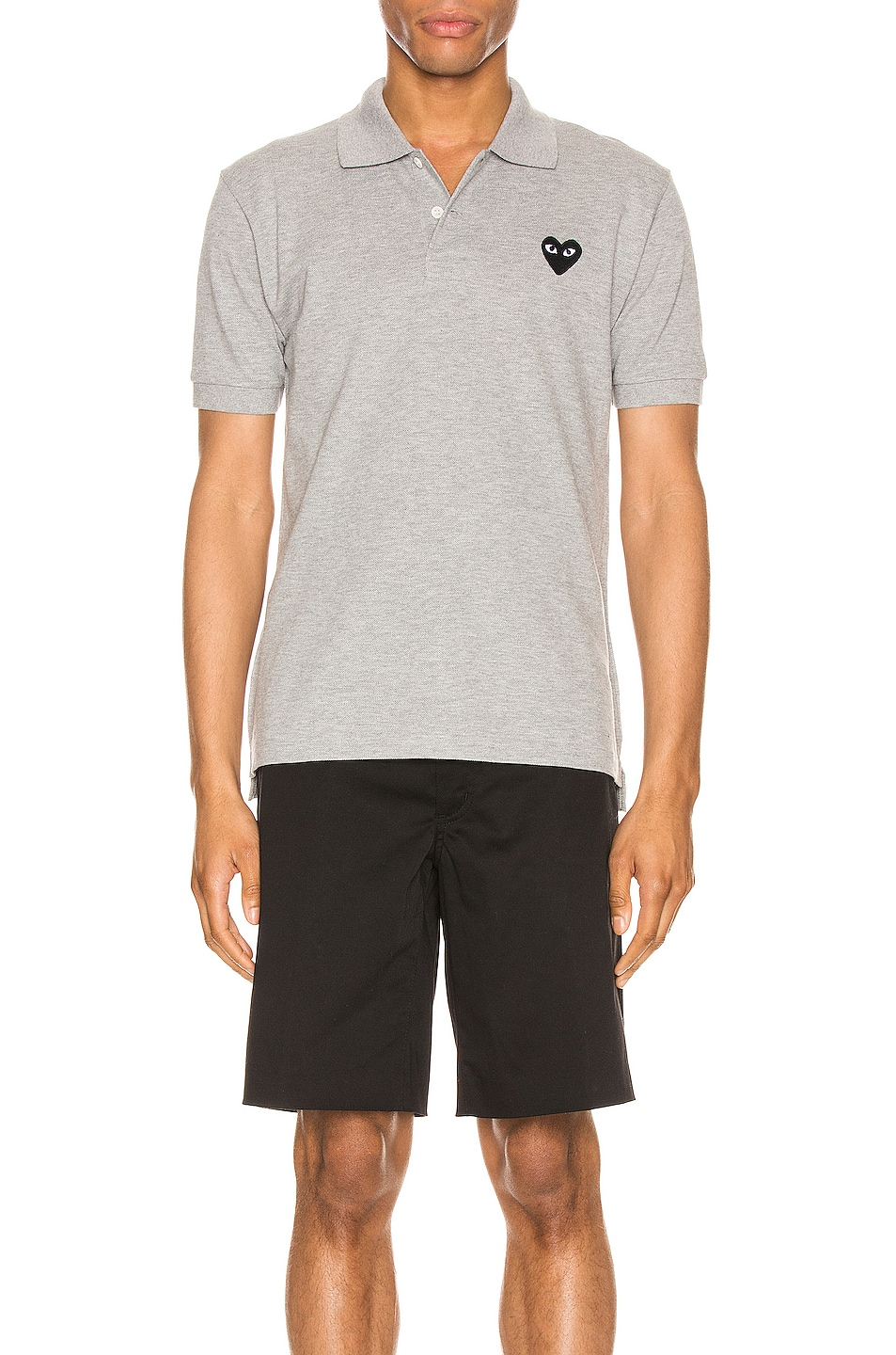 Image 1 of Comme Des Garcons PLAY Cotton Polo with Black Emblem in Grey