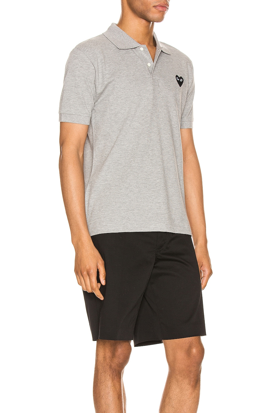 Image 2 of Comme Des Garcons PLAY Cotton Polo with Black Emblem in Grey