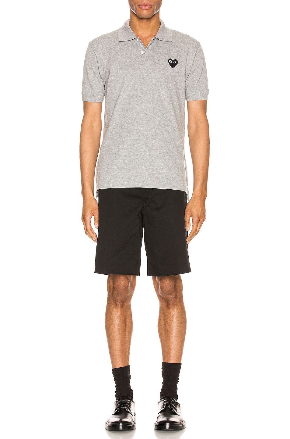 Image 4 of Comme Des Garcons PLAY Cotton Polo with Black Emblem in Grey