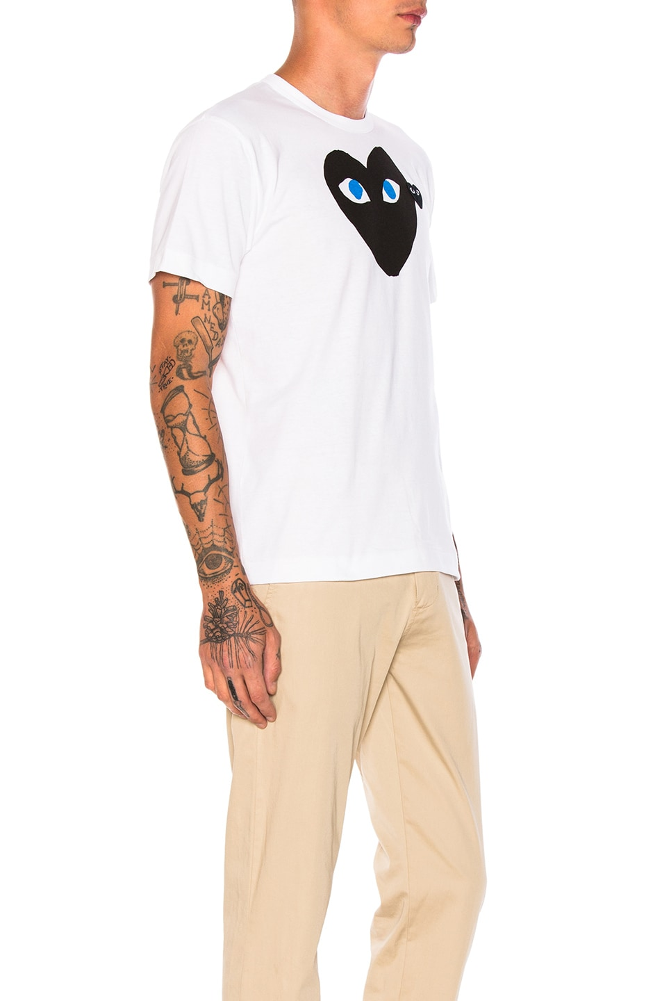 Image 2 of Comme Des Garcons PLAY Blue Eyes Black Emblem Cotton Tee in White