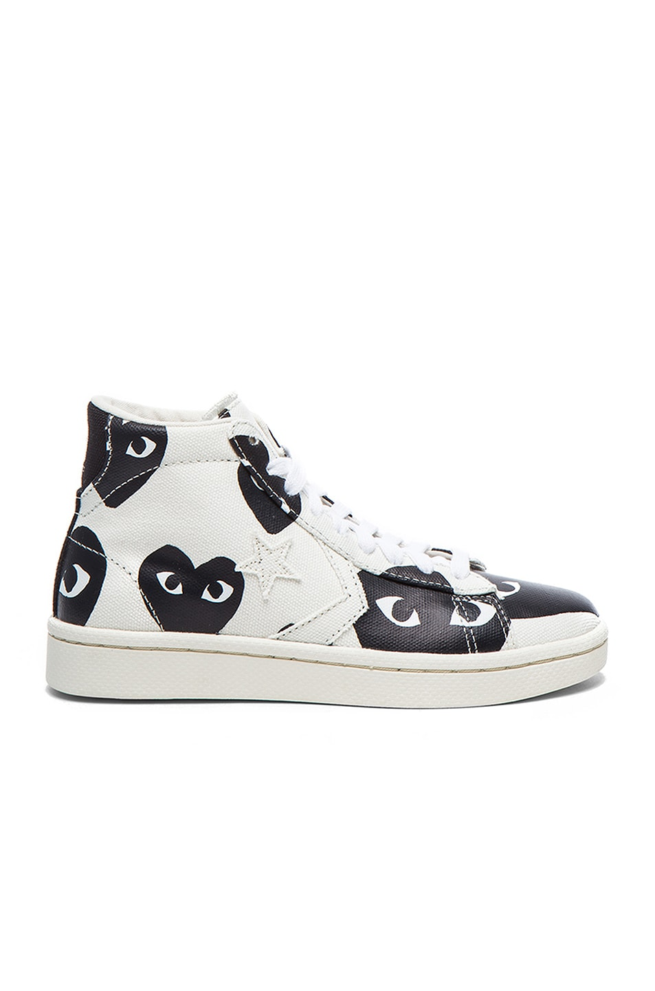 Image 1 of Comme Des Garcons PLAY High Top Canvas Sneakers in White & Black