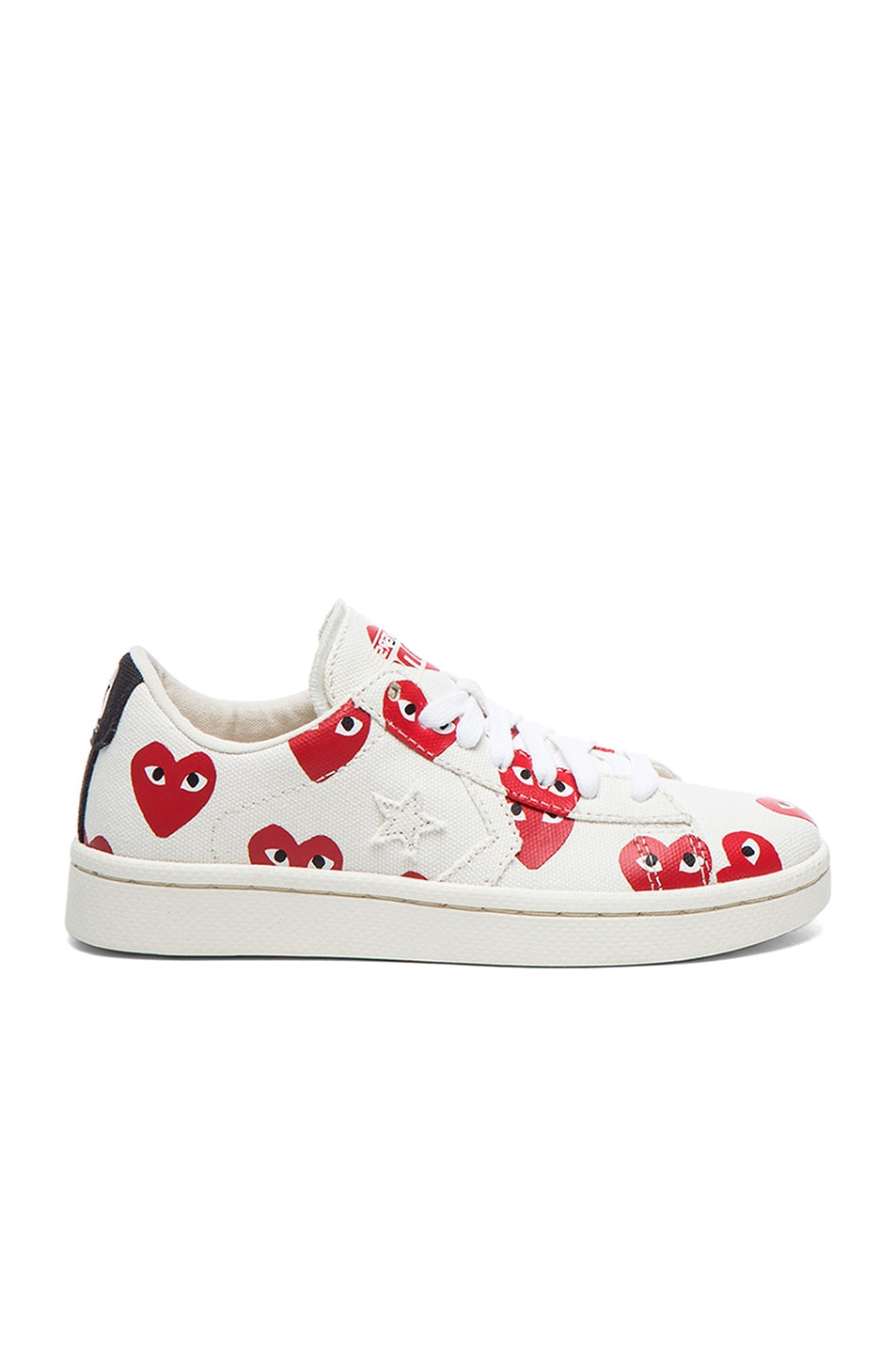 Image 1 of Comme Des Garcons PLAY Low Top Canvas Sneakers in White & Red