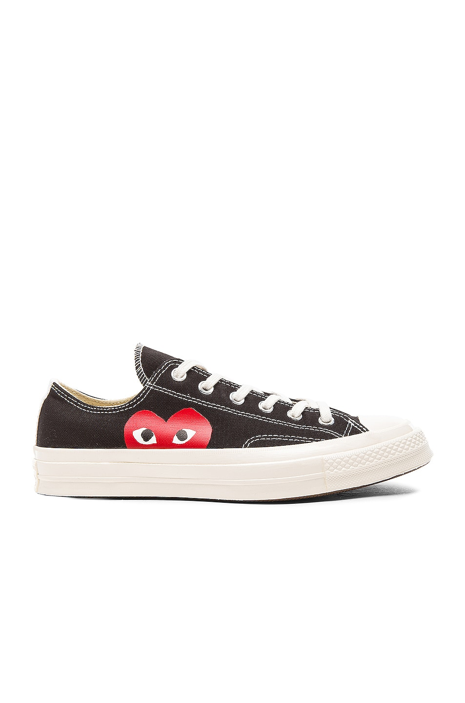 Image 1 of Comme Des Garcons PLAY Converse Large Emblem Low Top Canvas Sneakers in Black