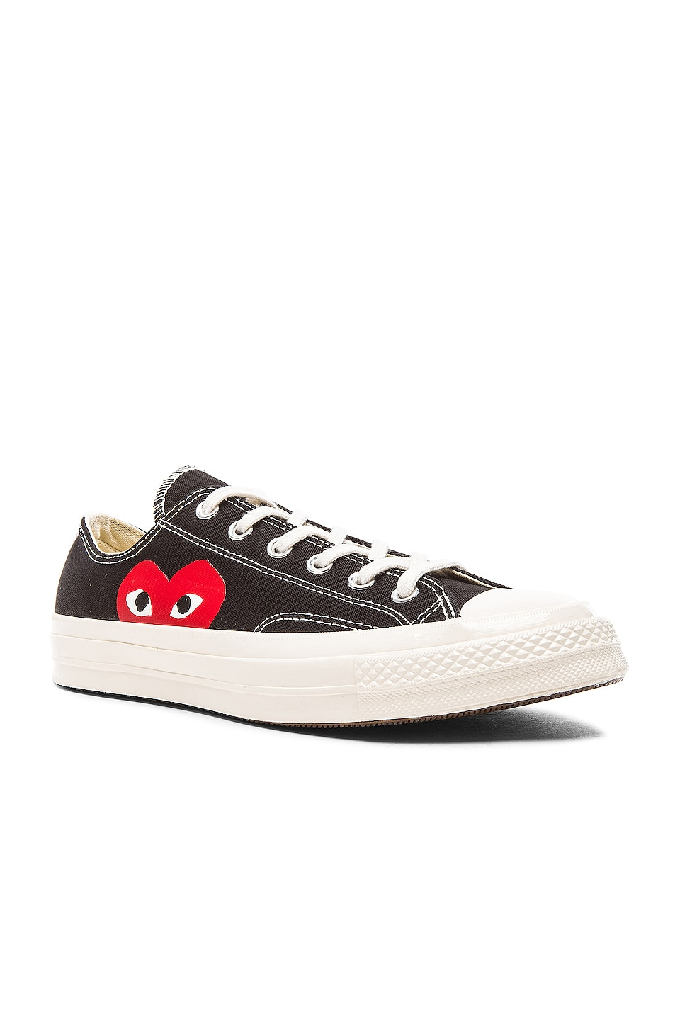 Image 2 of Comme Des Garcons PLAY Converse Large Emblem Low Top Canvas Sneakers in Black