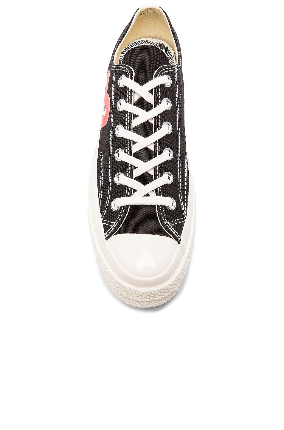 Image 4 of Comme Des Garcons PLAY Converse Large Emblem Low Top Canvas Sneakers in Black