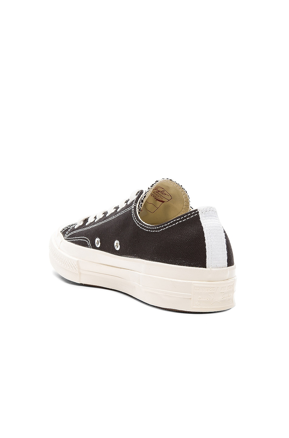 Image 3 of Comme Des Garcons PLAY Converse Large Emblem Low Top Canvas Sneakers in Black