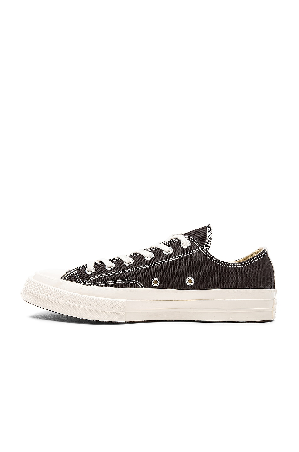 Image 5 of Comme Des Garcons PLAY Converse Large Emblem Low Top Canvas Sneakers in Black