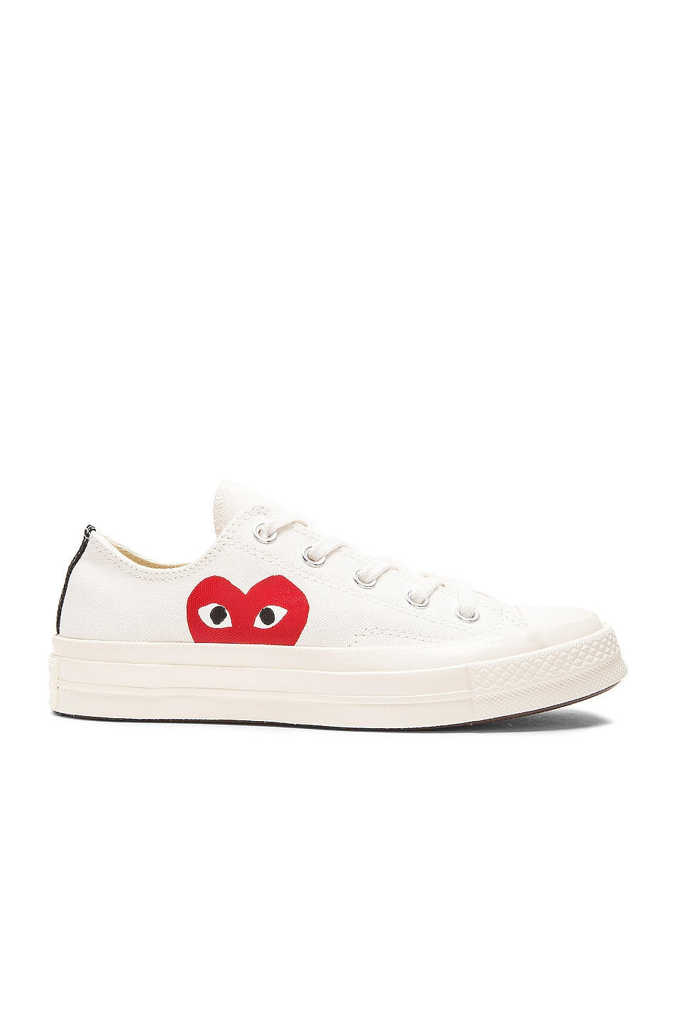 Image 1 of Comme Des Garcons PLAY Converse Large Emblem Low Top Canvas Sneakers in White