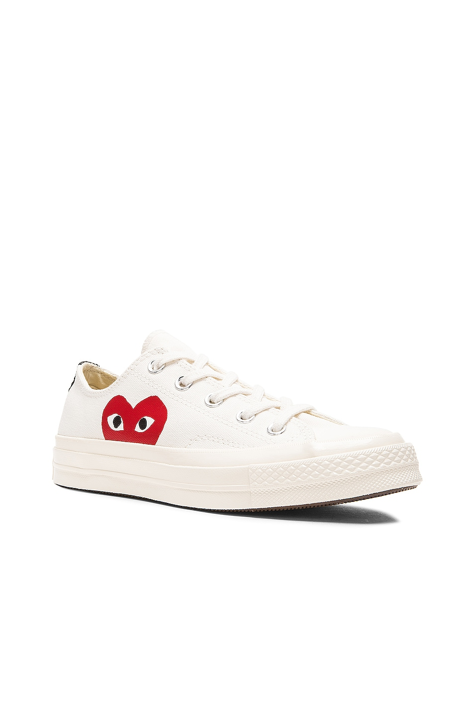 Image 2 of Comme Des Garcons PLAY Converse Large Emblem Low Top Canvas Sneakers in White