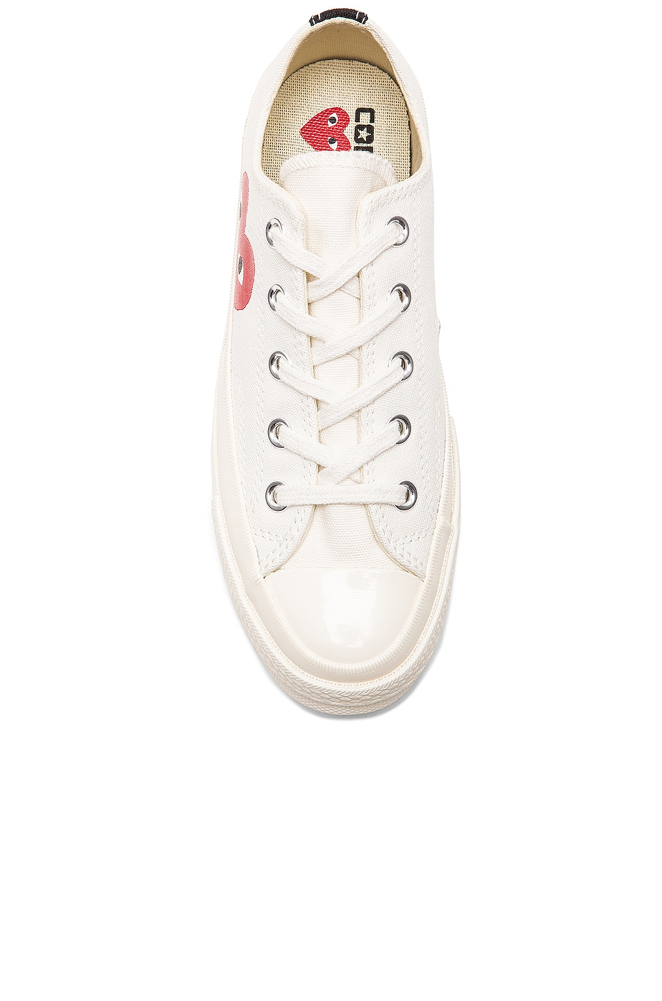 Image 4 of Comme Des Garcons PLAY Converse Large Emblem Low Top Canvas Sneakers in White