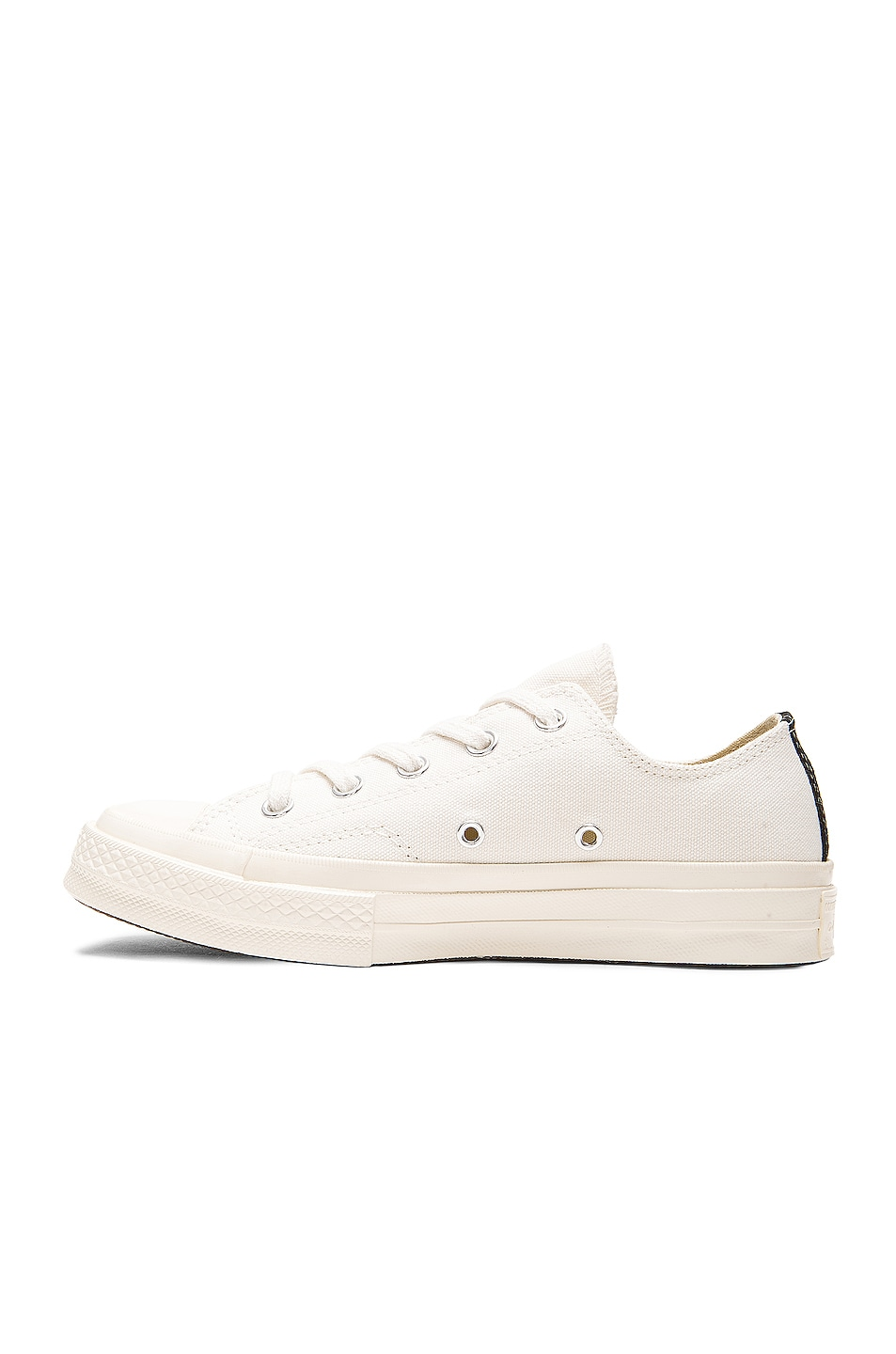 Image 5 of Comme Des Garcons PLAY Converse Large Emblem Low Top Canvas Sneakers in White