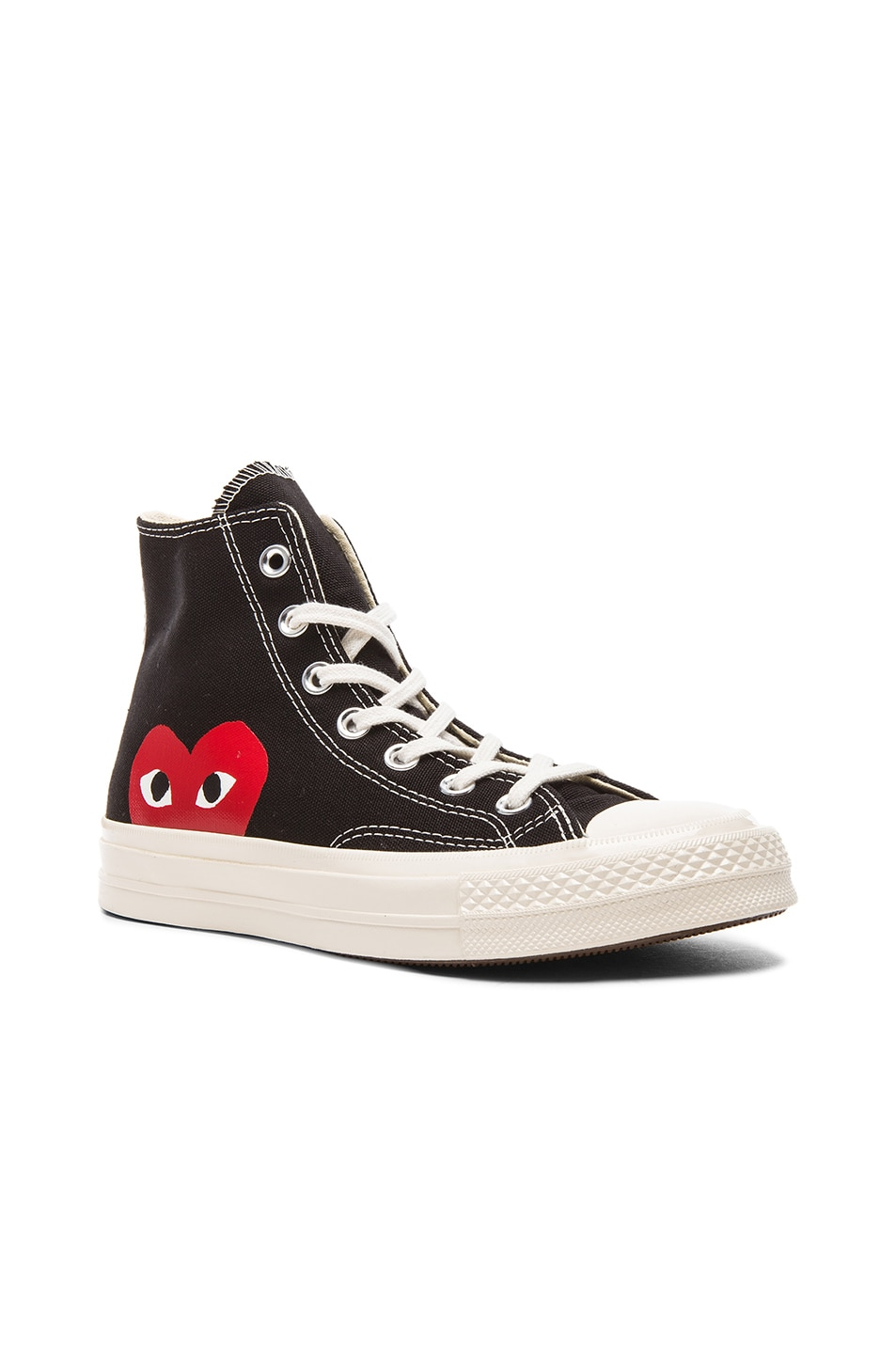 Image 1 of Comme Des Garcons PLAY Converse Large Emblem High Top Canvas Sneakers in Black