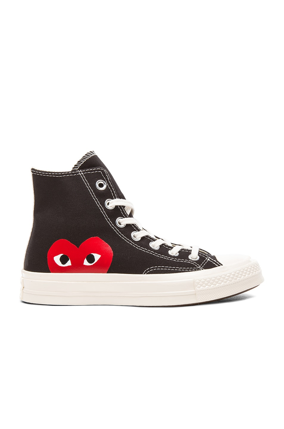 Image 2 of Comme Des Garcons PLAY Converse Large Emblem High Top Canvas Sneakers in Black
