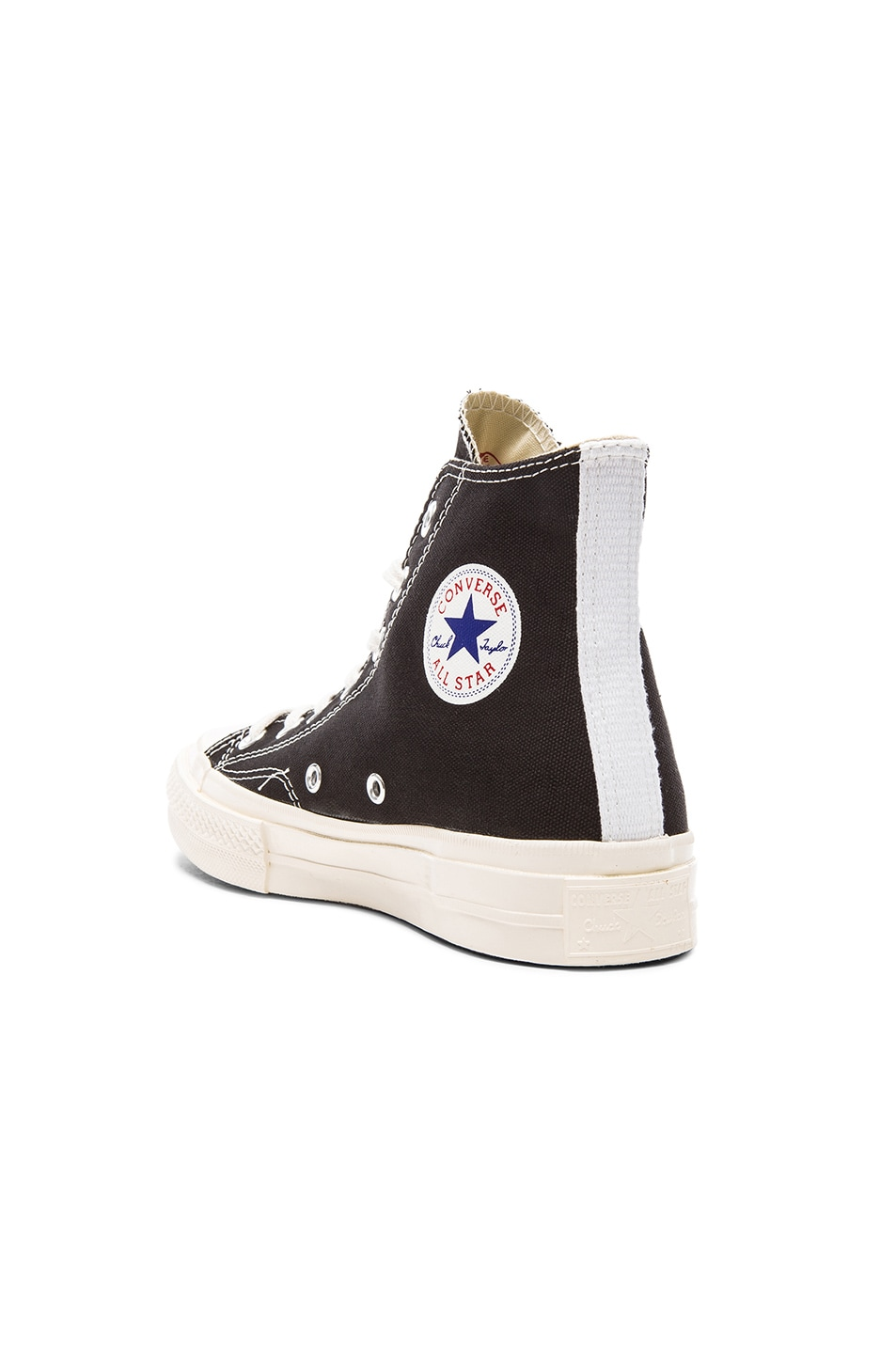 Image 3 of Comme Des Garcons PLAY Converse Large Emblem High Top Canvas Sneakers in Black