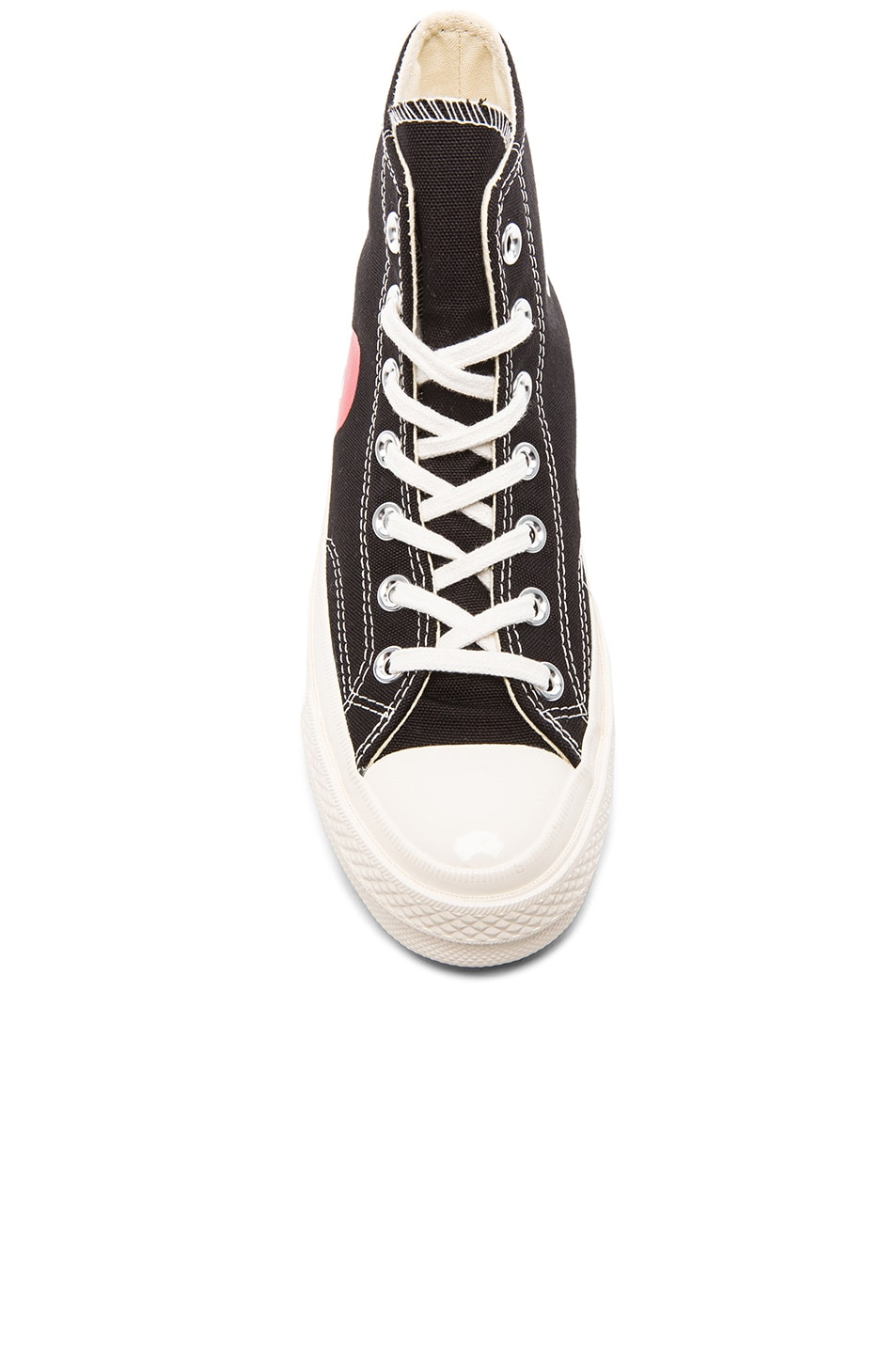Image 4 of Comme Des Garcons PLAY Converse Large Emblem High Top Canvas Sneakers in Black