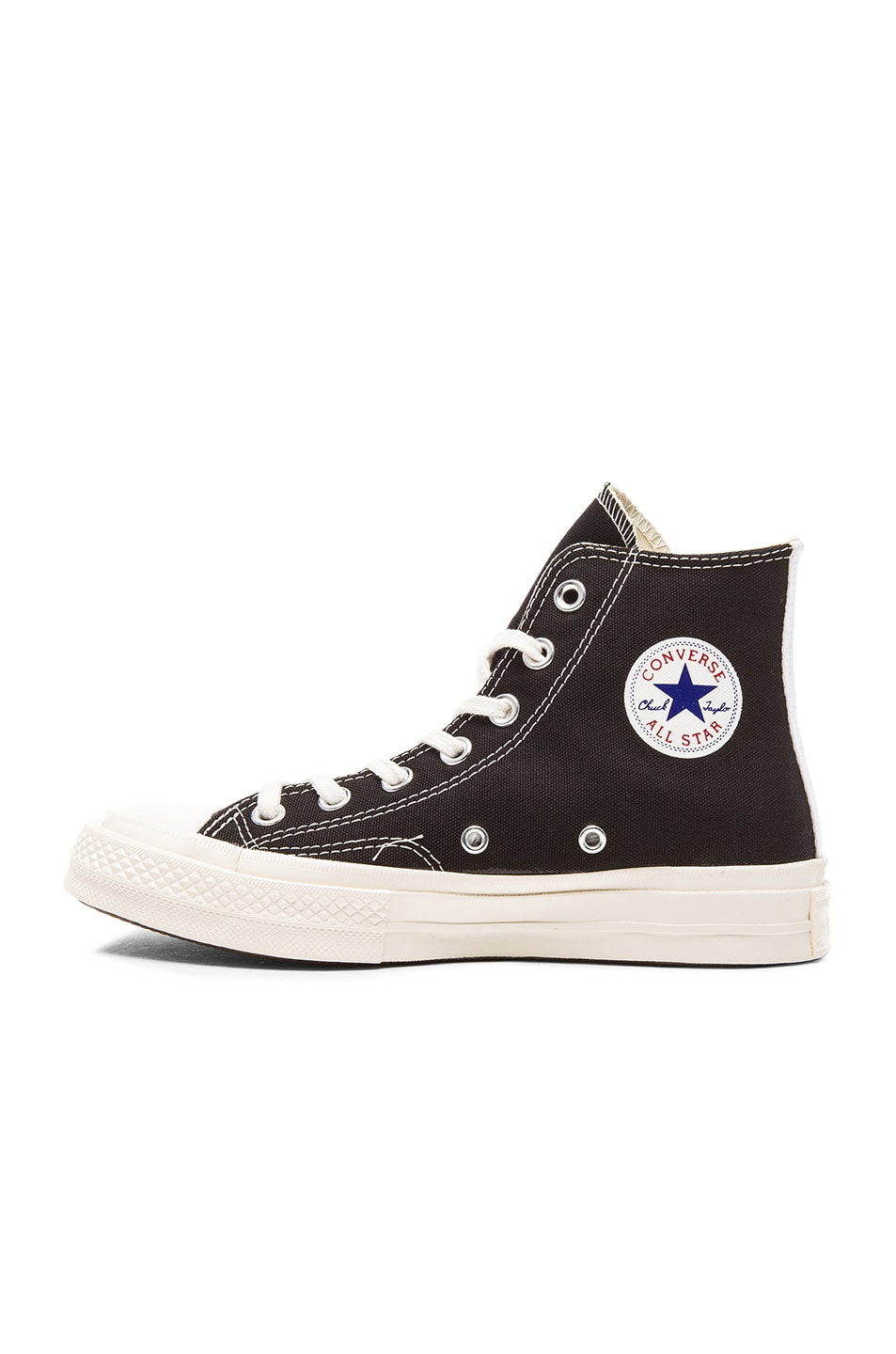 Image 5 of Comme Des Garcons PLAY Converse Large Emblem High Top Canvas Sneakers in Black