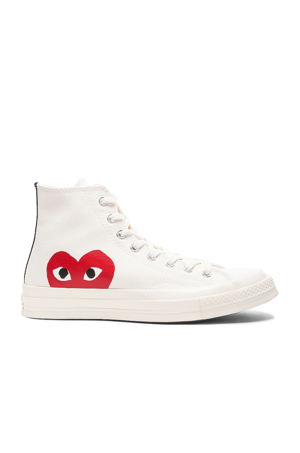 Image 1 of Comme Des Garcons PLAY Converse Large Emblem High Top Canvas Sneakers in White