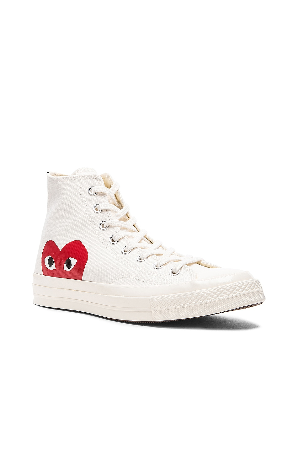 Image 2 of Comme Des Garcons PLAY Converse Large Emblem High Top Canvas Sneakers in White