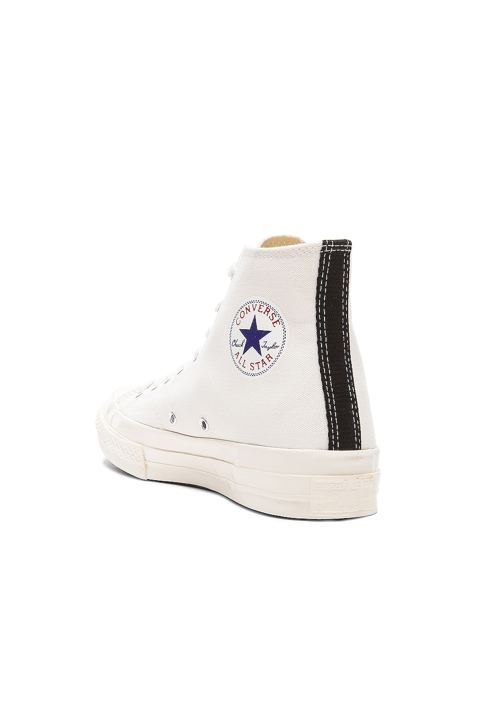 Image 3 of Comme Des Garcons PLAY Converse Large Emblem High Top Canvas Sneakers in White