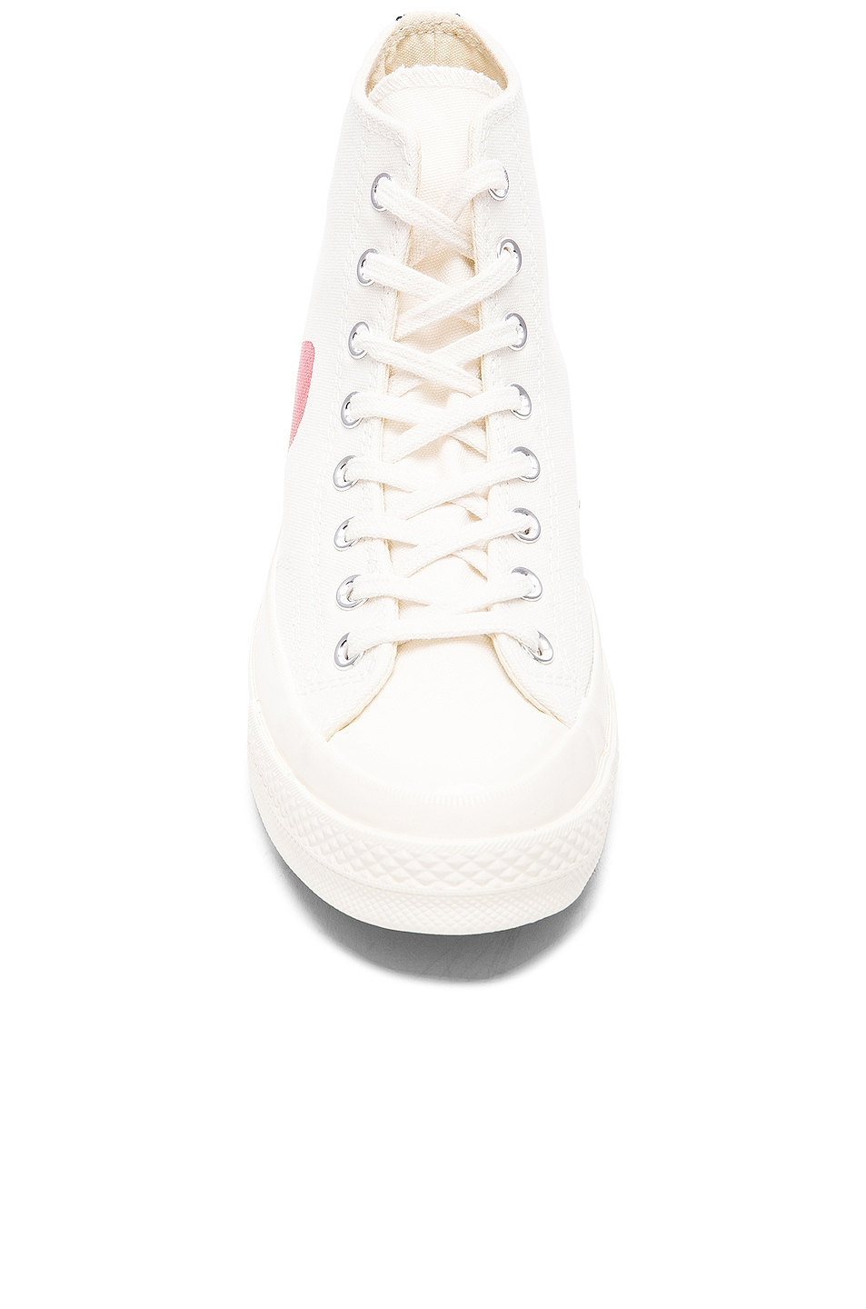 Image 4 of Comme Des Garcons PLAY Converse Large Emblem High Top Canvas Sneakers in White