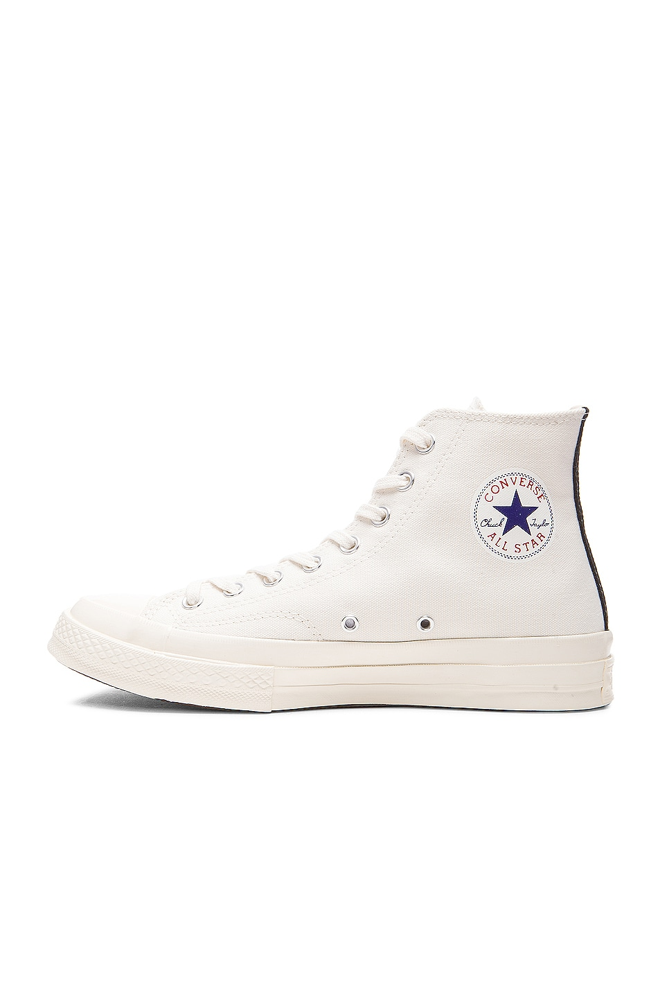 Image 5 of Comme Des Garcons PLAY Converse Large Emblem High Top Canvas Sneakers in White