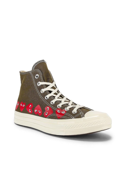 Image 1 of Comme Des Garcons PLAY Emblem Hi Top Sneaker in Khaki