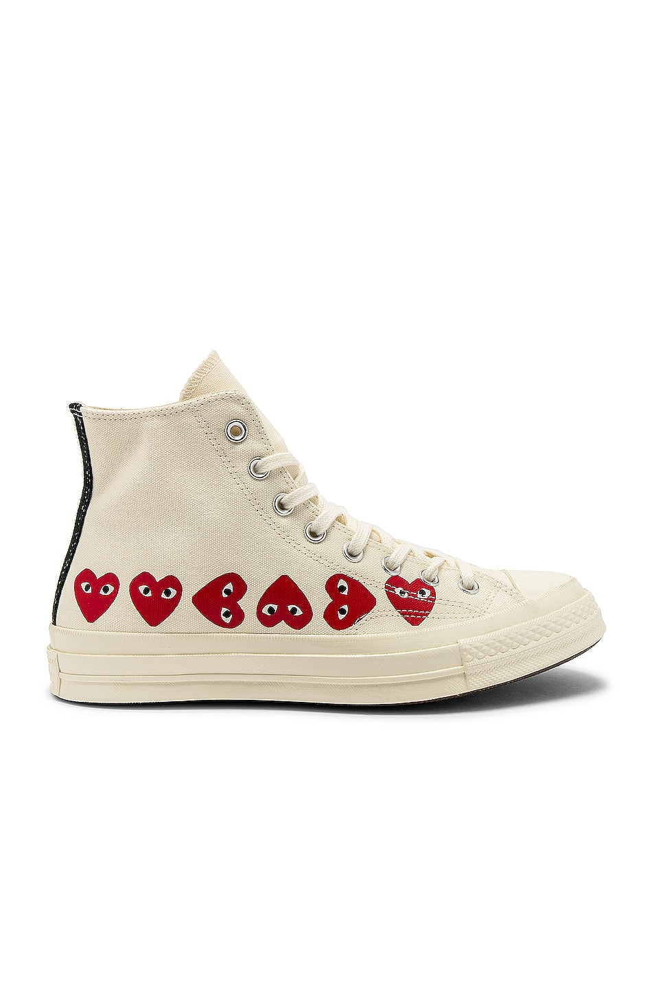 Image 1 of Comme Des Garcons PLAY Emblem Hi Top Sneaker in Off White